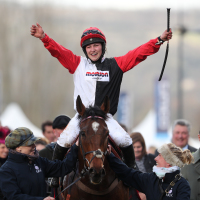 Harriet Tucker celebrates her victory on Pacha Du Polder