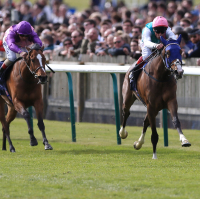 Swiss Range ridden by Frankie Dettori (right) wins the Tweenhills Pretty Polly Stakes at Newmarket
