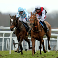 Queenohearts (right) ridden by Ciaran Gethings wins the EBF Stallions/TBA Mares' Standard Open NH Flat Race at Sandown