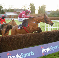 Folsom Blue takes the last in the Punchestown Grand National Trial