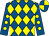 Royal blue and yellow diamonds, royal blue sleeves, yellow spots, quartered cap
