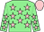 Light green, pink stars, pink cap