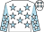 White, light blue stars, light blue sleeves, white stars and stars on cap