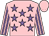 Pink, mauve stars, striped sleeves, pink cap
