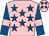Pink, royal blue stars, royal blue sleeves, pink armlets