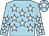 Light blue, white stars, light blue cap, white star