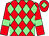 Red and light green diamonds, red sleeves, light green armlets and diamond on cap