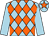 Light blue and orange diamonds, light blue sleeves, light blue cap, orange star
