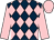 Dark blue and pink diamonds, pink sleeves and cap
