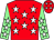 Red, white stars, light green sleeves, white stars
