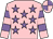 Pink, mauve stars, hooped sleeves, quartered cap