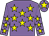 Mauve, yellow stars, mauve cap, yellow star