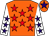 Orange, red stars, white sleeves, purple stars, orange cap, purple star