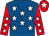 Royal blue, white stars, red sleeves, white stars, red cap, white star