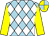 Light blue and white checked diamonds, yellow sleeves, yellow and light blue quartered cap