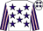 White, purple stars, purple and pink striped sleeves