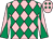 Pink and emerald green diamonds, diabolo on sleeves