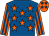 Royal blue, orange stars, orange and royal blue striped sleeves, orange cap, royal blue stars