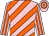 Pink, orange diagonal stripes, striped sleeves, hooped cap