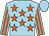 Light blue, orange stars, striped sleeves, light blue cap