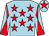 Light blue, red stars, diabolo on sleeves and star on cap