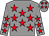Grey, red stars