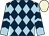 Dark blue and light blue diamonds, light blue and dark blue chevrons on sleeves, beige cap