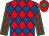 Red and royal blue diamonds, emerald green and red striped sleeves, red cap, emerald green diamond