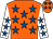 Orange, royal blue stars, white sleeves, royal blue stars