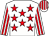 White, red stars, striped sleeves & cap