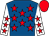 Royal blue, red stars, white sleeves, red stars and cap
