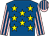 Royal blue, yellow stars, pink and royal blue striped sleeves and cap