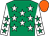 Emerald green, white stars, white sleeves, emerald green stars, orange cap