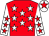 Red, white stars, white sleeves, red stars, white cap, red star