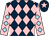 Dark blue and pink diamonds, pink sleeves, light blue diamonds, dark blue cap, pink star