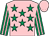 Pink, emerald green stars, emerald green and pink striped sleeves, pink cap