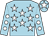 Light blue, white stars, light blue sleeves, white spots, light blue cap, white star