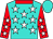 Turquoise, white stars, red collar and sleeves, white stars, turquoise cap