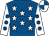Royal blue, white stars, white sleeves, royal blue spots, quartered cap