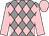 Grey and pink diamonds, pink sleeves and cap