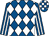 Royal blue and white diamonds, striped sleeves, check cap