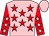 Pink, red stars, red sleeves, pink stars and cap