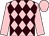 Pink and brown diamonds, pink sleeves and cap
