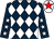 Dark blue and white diamonds, dark blue sleeves, white stars, white cap, red star