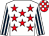 White, red stars, white and dark blue striped sleeves, red and white check cap