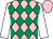 Pink and emerald green diamonds, white sleeves, pink cap
