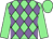 Light green and mauve diamonds, light green sleeves and cap