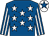 Royal blue, white stars, striped sleeves, white cap, royal blue star