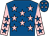 Royal blue, pink stars, pink sleeves, royal blue stars