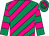 Emerald, magenta diagonal stripes, hooped sleeves and cap